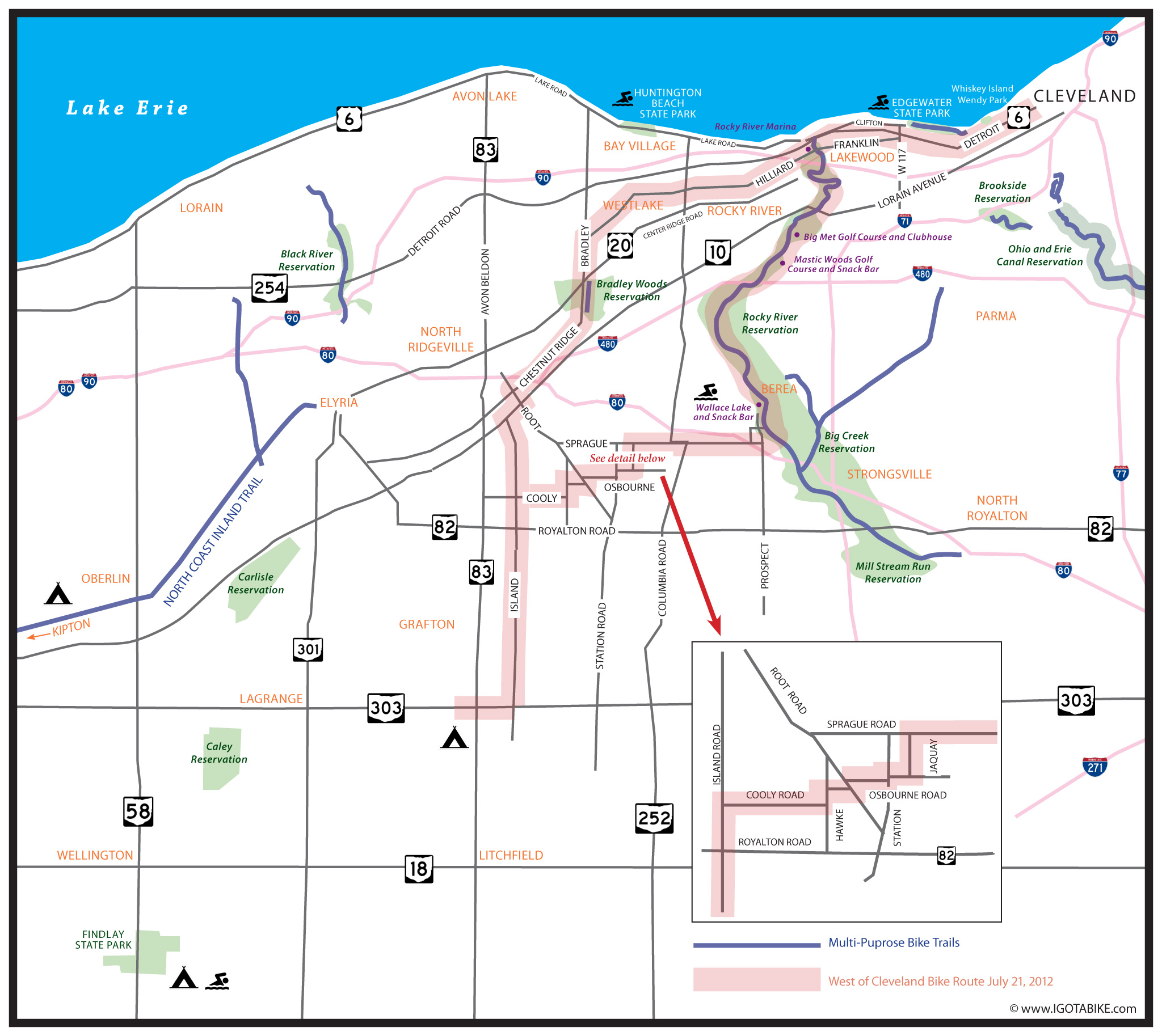 Bicycle route with map for riding west from Cleveland into Lorain