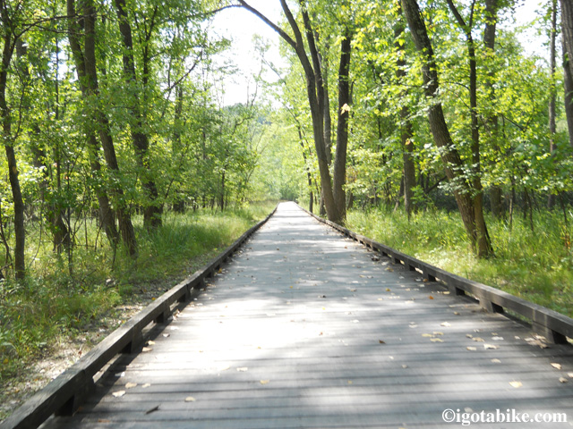 One of the many bicycle boardwalks along the Ohio and Erie Canal Towpath Trail. This one is between Boston and Pennisula.