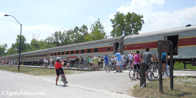 While in Penninsula we sawWhile in Penninsula we saw the Cuyahoga Valley Scenic Railroad loading up another round bikes heading south. Cyclist and their bikes can ride the train for $2! the Cuyahoga Valley Scenic Railroad loading up another round bike heading south. Cyclist and their bikes can ride the train for $2!