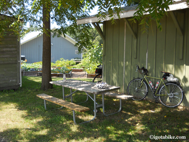 Behind the Oberlin train station there is a picnic table under a nice shady tree.