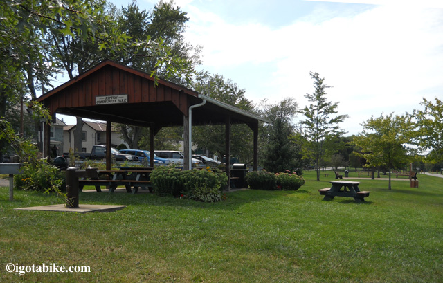 The Community Park in Kipton has a gazebo, picnic shelter with grills and picnic tables. There is also a water fountain and a port-o-potty.