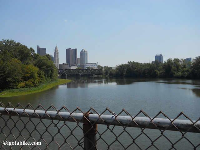 View of downtown Columbus from the southbound route on the Scioto River Trail.