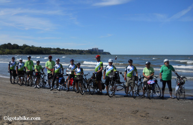 13 FMCPT Cyclist tire dip at Lake Erie after 348 miles on the Ohio to Erie Trail