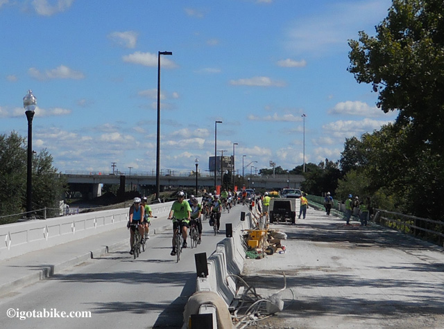 One of the trickier spots is getting across the now only one lane, on way, Abbey Avenue Bridge past the I 90 bridge construction zone to get to downtown Cleveland. The construction workers got a kick out of seeing the pack of FCMPT cyclist looking tough in matching shirts and jerseys.