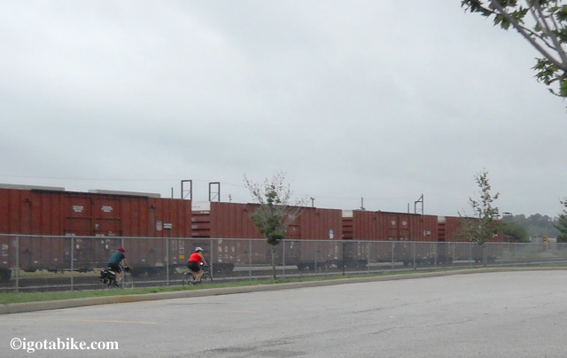 Carol and Jim behind Steelyard Commons in Cleveland on day one of Jim's ride on the Ohio to Erie Trail.