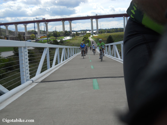Guy always does a great job with the action shots while riding! Here you can see Gene Pass and other FMCPT riders on the first of two suspension bridges built for cyclist in the Cleveland Metroparks. The huge double bridges of Interstate 480 is in the background.