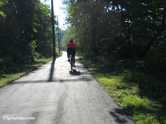 The Alum Creek Trail is nice and scenic. In this photo Carol is riding south in the early morning, late August 2012.