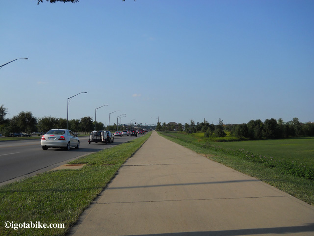 The bike trail on the east side of Cleveland Avenue. The view in this photo is looking north.
