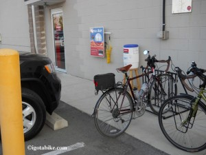 The bicycle trail travels behind a giant retail complex where there is a Trek store and they provide free air and water to cyclist at their back door.