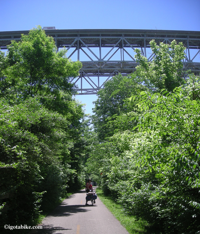 Here is Carol under the Jeremiah Morrow Bridges on day one of our 2011 bike tour.