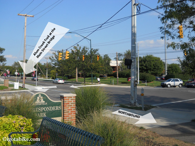 The Alum Creek Trail crosses Main Street in front of the Westerville Senior Center. Follow the trail past First Responders Park and the Westerville fire department.