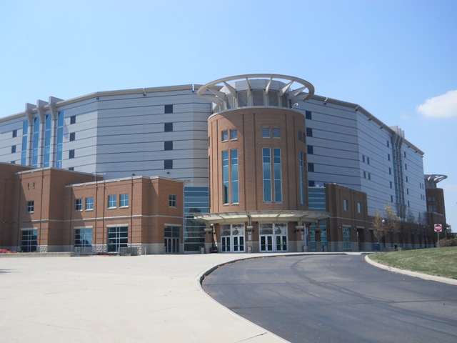 The Schottenstein Center is the landmark for navigating the Olantangy Trail detour through the Ohio State University campus. The detour follows Olantangy River Road on the west side of the street between Lane Avenue and Ackerman Road.