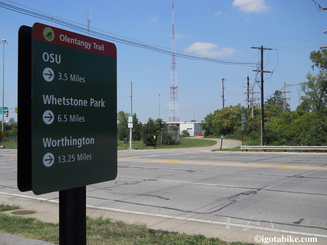 There is a sign at the intersection of the Scioto River Trail and The Olantangy Trail.