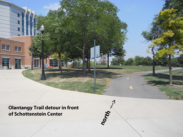 The detour follows Olantangy River Road on the west side of the street in front The Schottenstein Center.