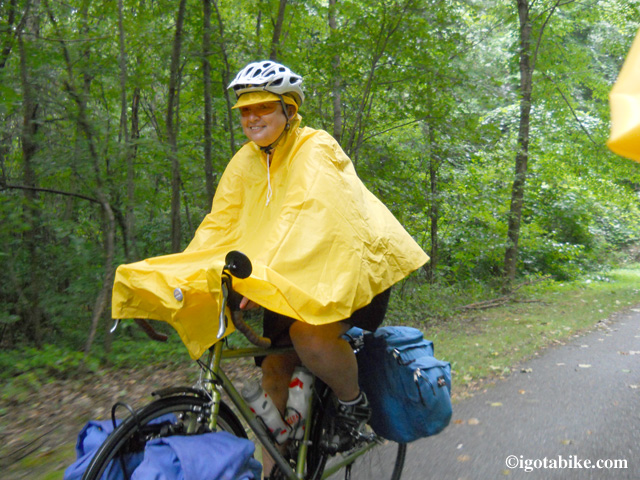 You can get a bicycling poncho for about $15. Works well to keep your hands and gloves and feet and shoes dry. The detacheble hood with brim also works well.