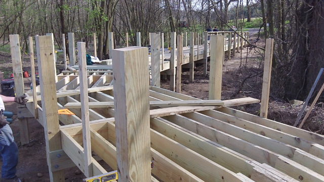 Boardwalk construction on the Towpath Trial outside of Zoar in Tuscarawas County. Photo courtesy George Ebey