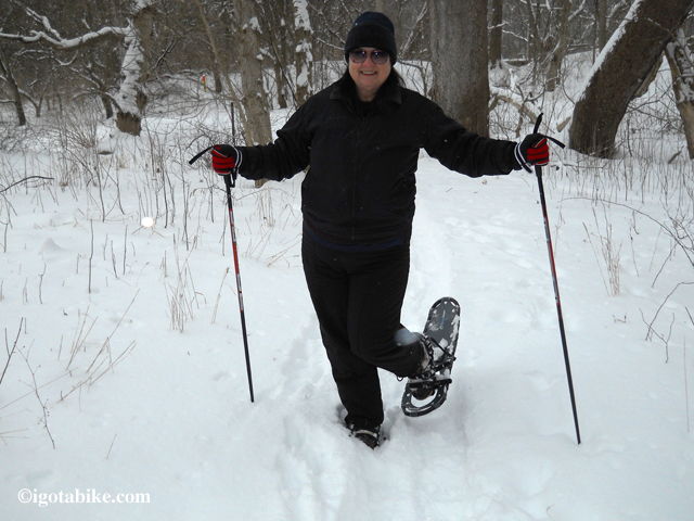 snow shoes on Ohio and Erie Canal Towpath